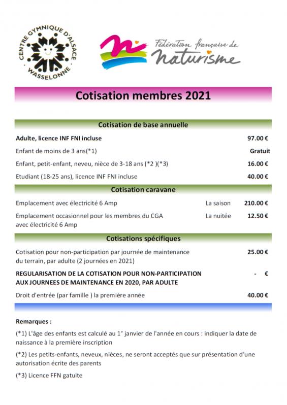 Tarifs membres 2021